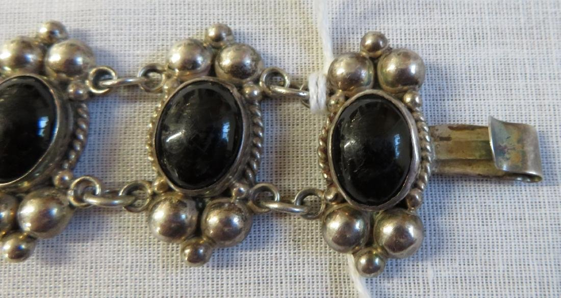 Mexican Sterling Silver & Stone Link Bracelet - 6