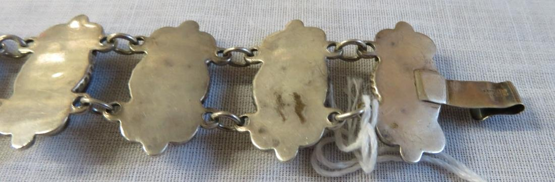 Mexican Sterling Silver & Stone Link Bracelet - 9