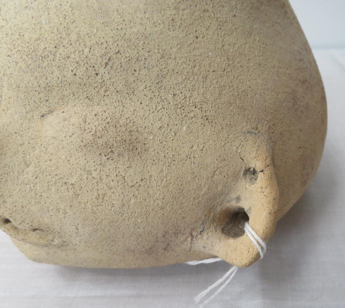 Effigy Human Head Pot w/Helm COA - 6