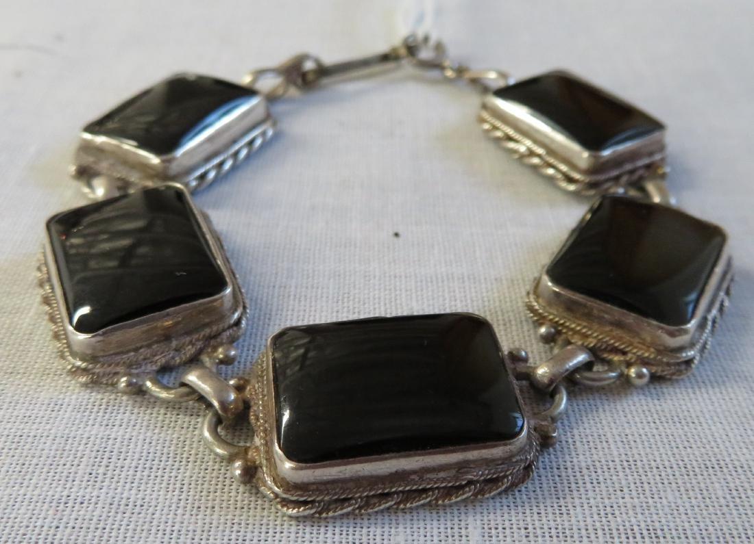 Mexican Handmade Sterling & Stone Link Bracelet - 2