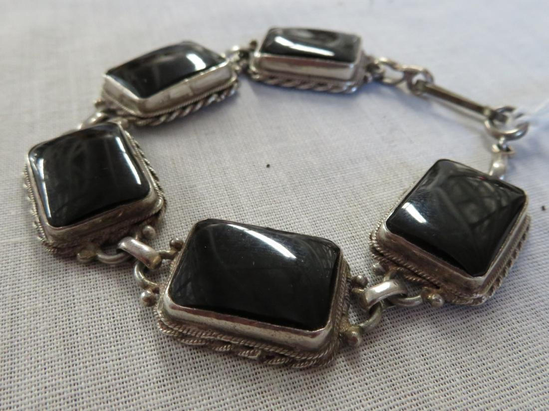 Mexican Handmade Sterling & Stone Link Bracelet - 3