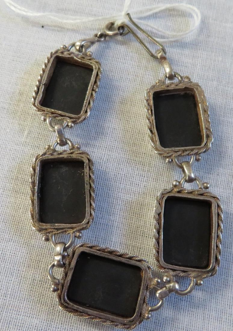 Mexican Handmade Sterling & Stone Link Bracelet - 4