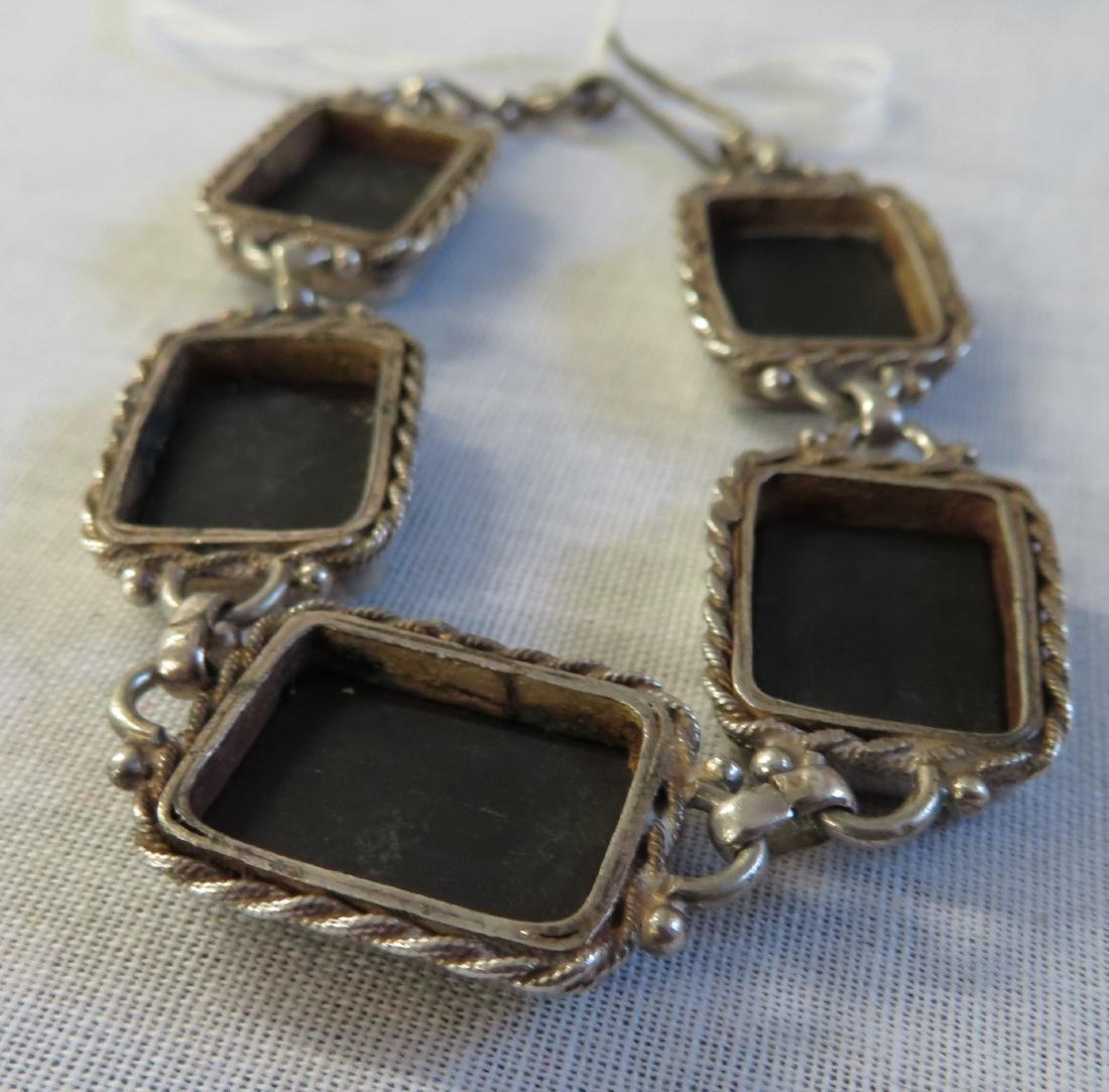 Mexican Handmade Sterling & Stone Link Bracelet - 5
