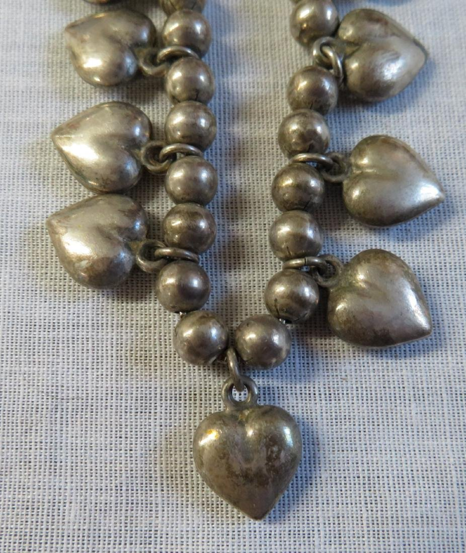 Mexican Sterling Silver Necklace w/Hearts - 2
