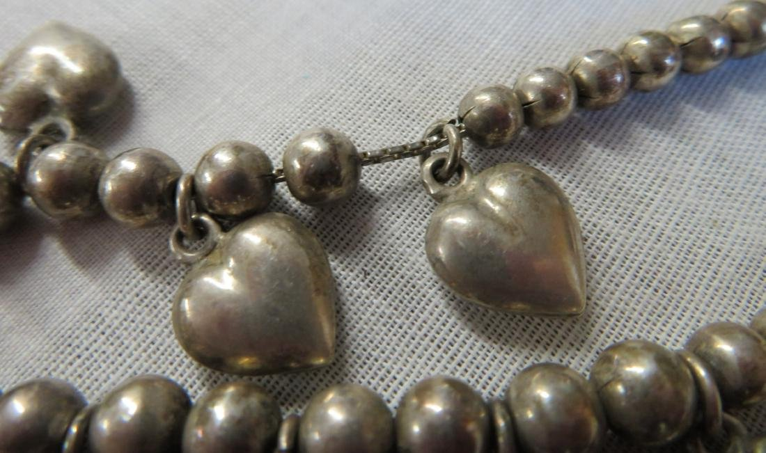 Mexican Sterling Silver Necklace w/Hearts - 5