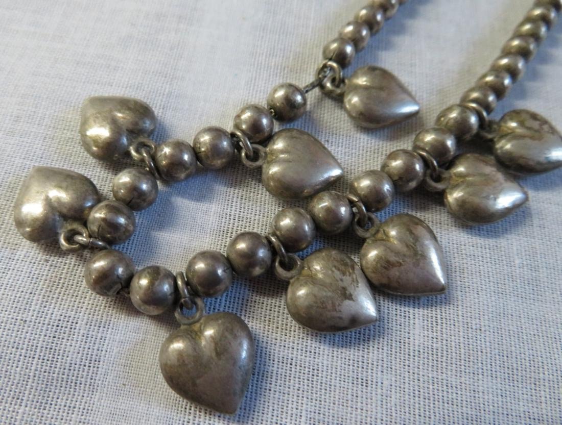 Mexican Sterling Silver Necklace w/Hearts - 6