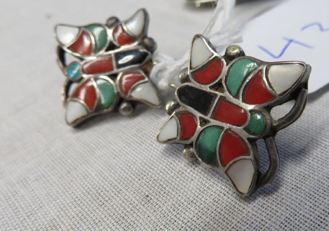 Inlaid Sterling Silver Clip Earrings w/Ring - 2