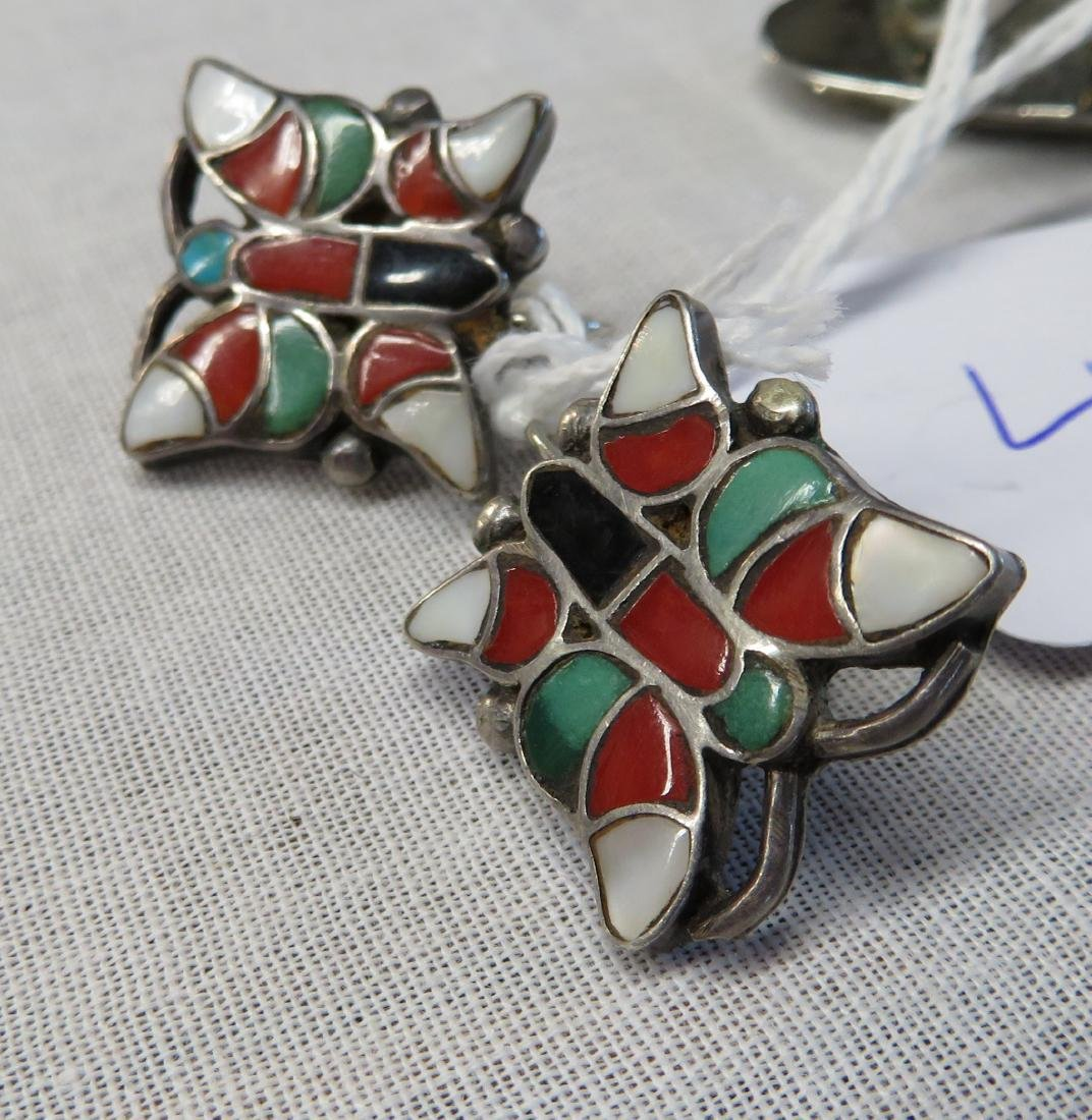 Inlaid Sterling Silver Clip Earrings w/Ring - 3