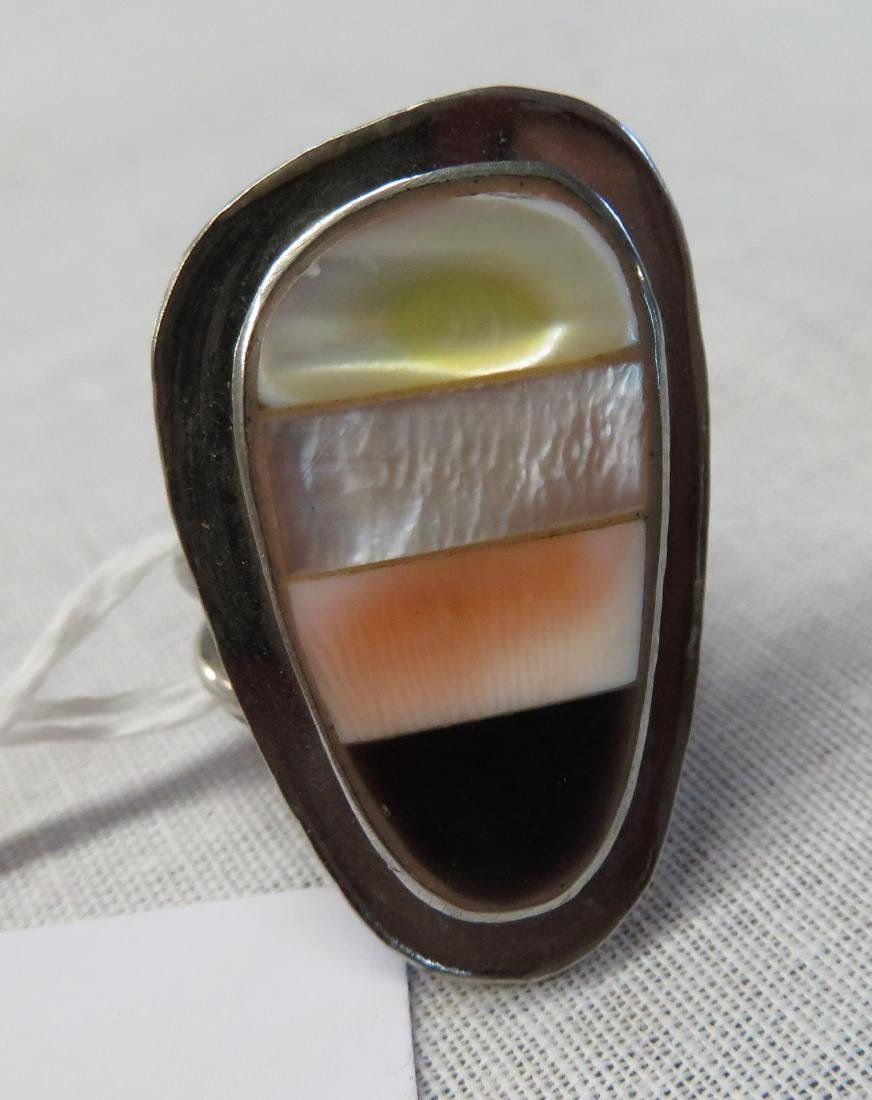Inlaid Sterling Silver Clip Earrings w/Ring - 5