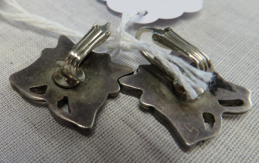 Inlaid Sterling Silver Clip Earrings w/Ring - 6