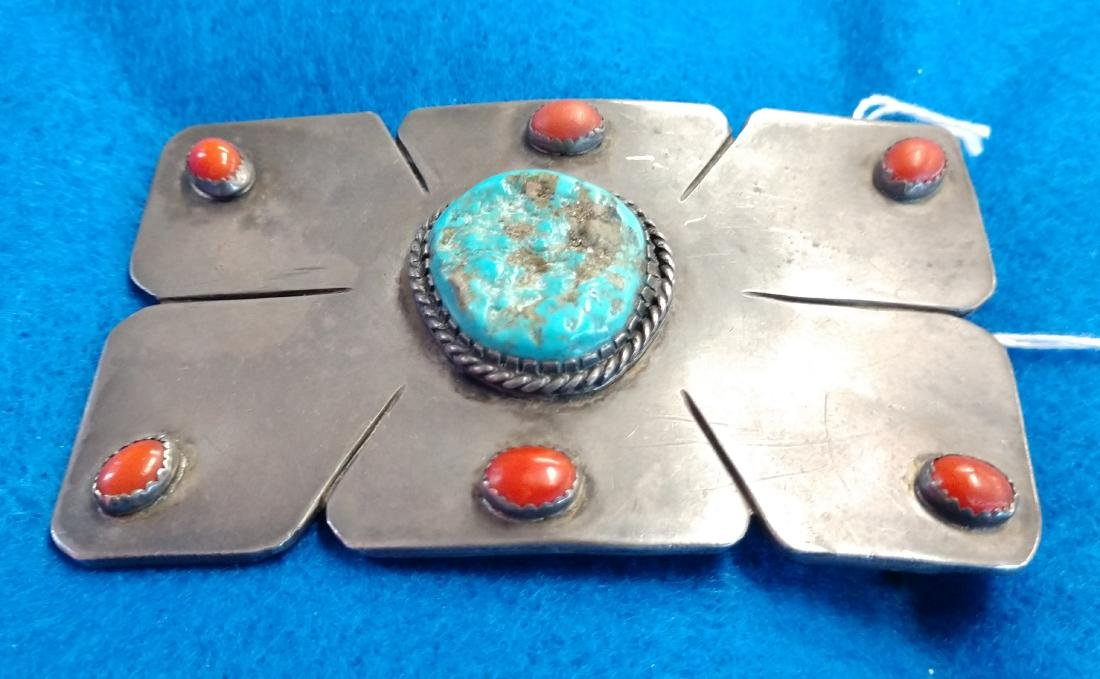 Navajo S.S., Coral & Turquoise Belt Buckle - 2