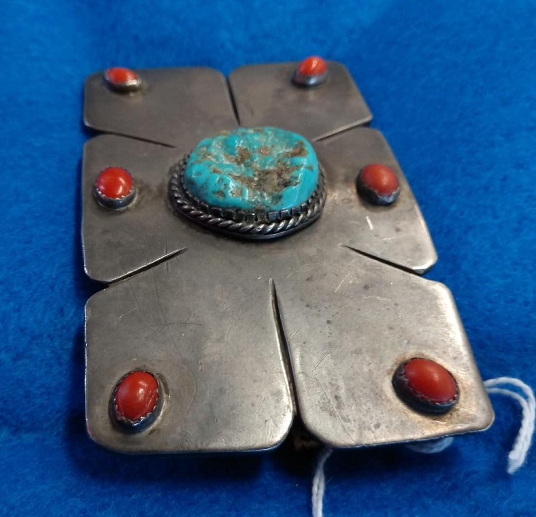 Navajo S.S., Coral & Turquoise Belt Buckle - 3