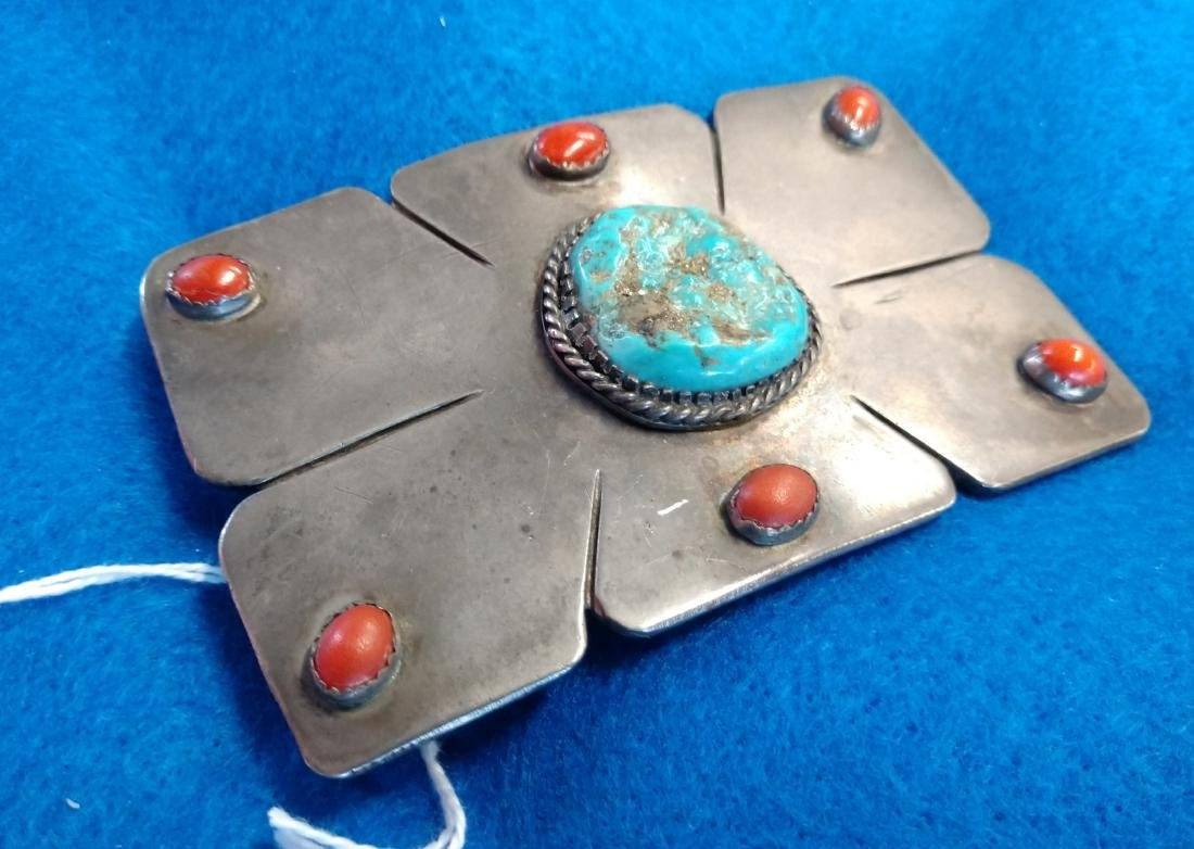 Navajo S.S., Coral & Turquoise Belt Buckle - 4