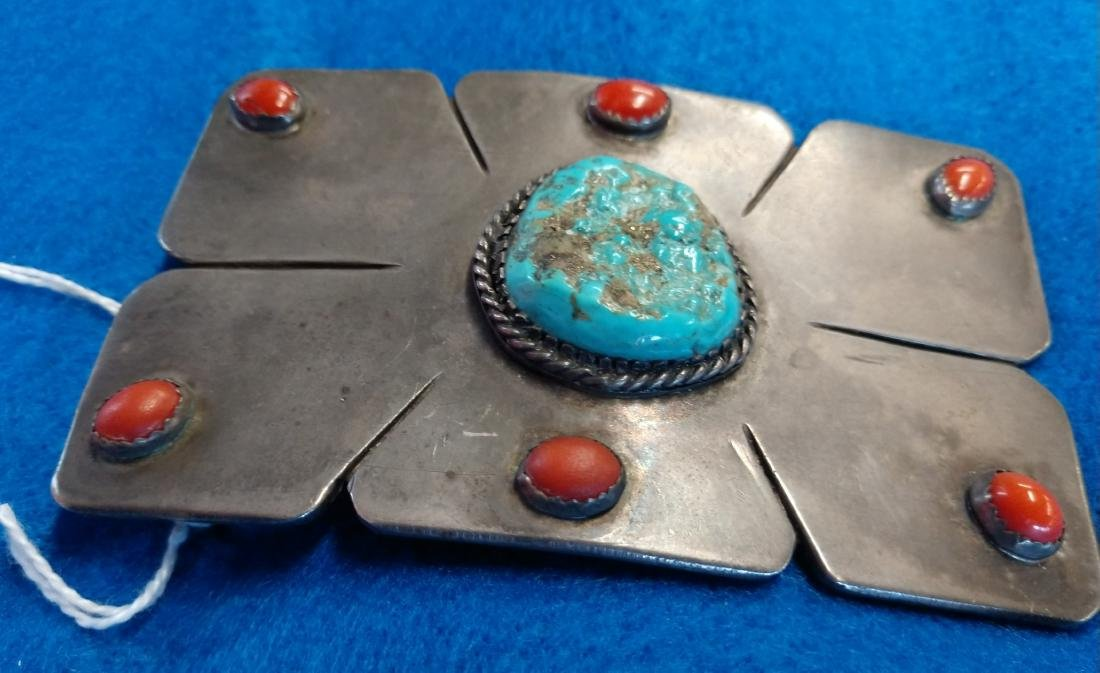 Navajo S.S., Coral & Turquoise Belt Buckle - 5