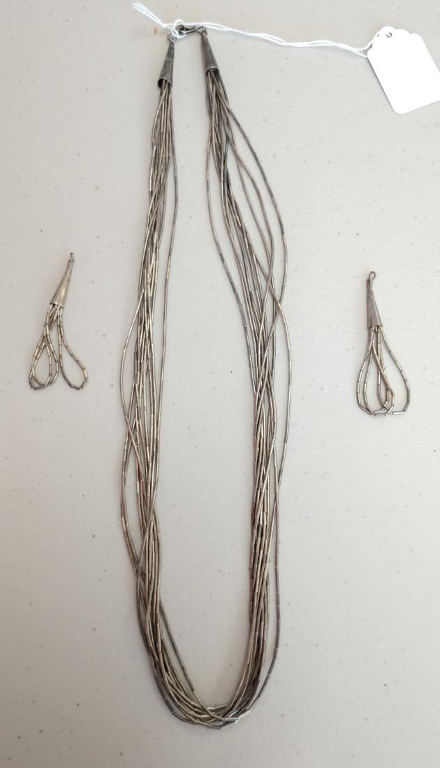 Liquid Silver Necklace w/Earrings