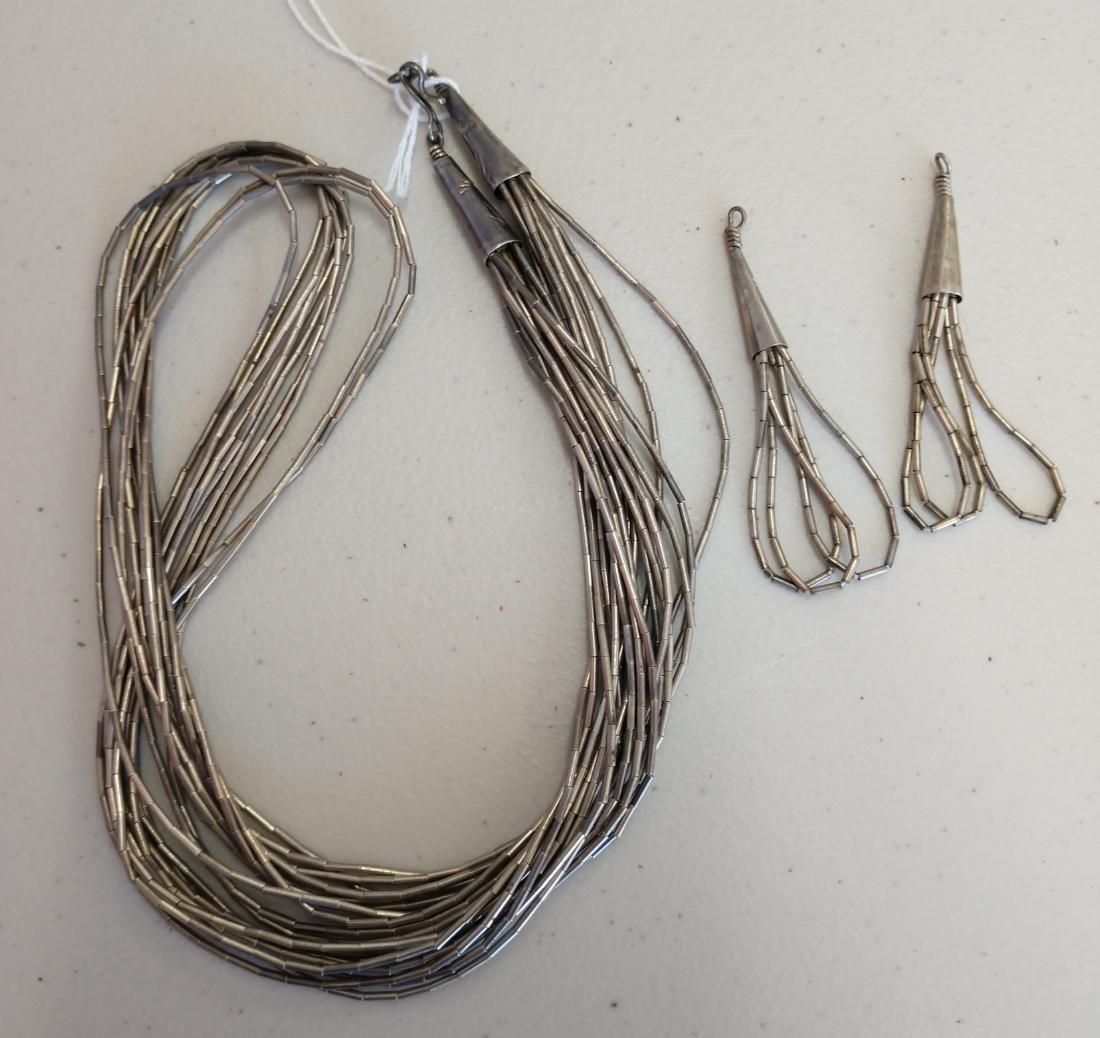 Liquid Silver Necklace w/Earrings - 7