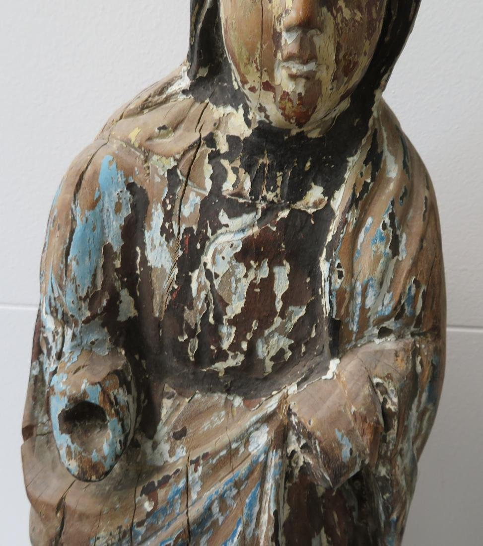 16th Century Japanese Christian Virgin Mary Carving - 5