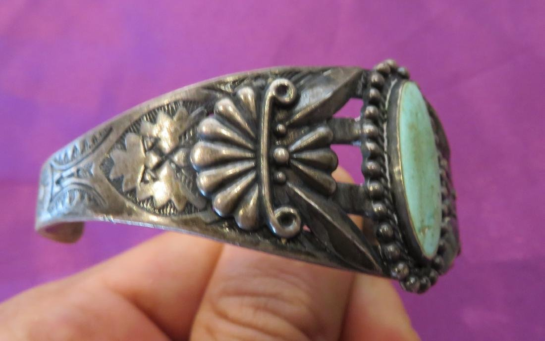 Sterling Silver & Turquoise Cuff - 6