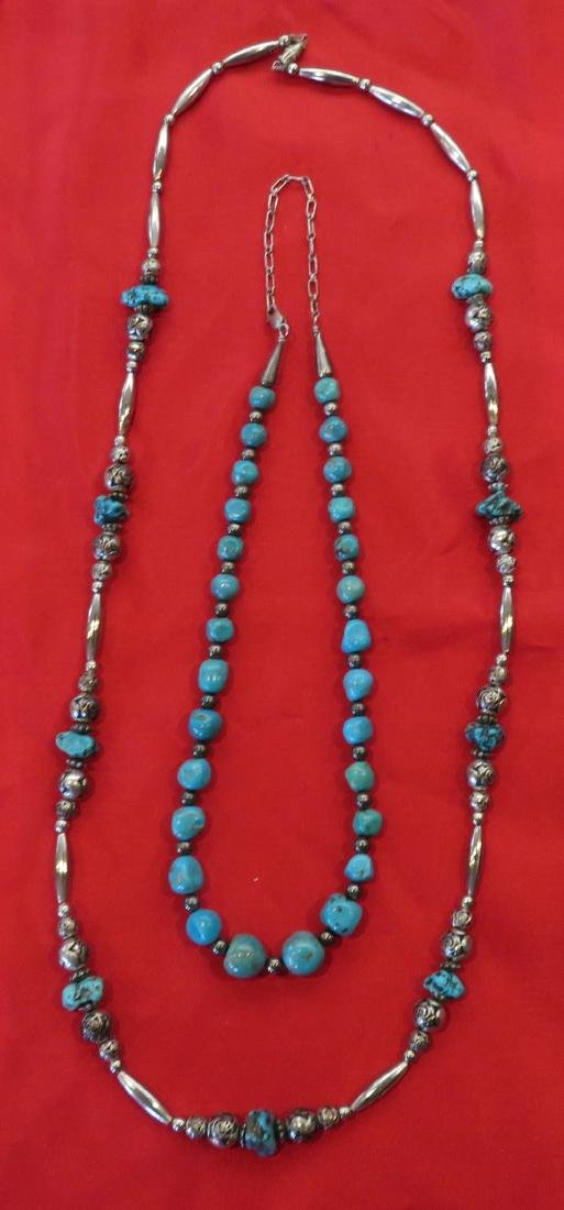 2 Navajo S.S. & Turquoise Necklaces