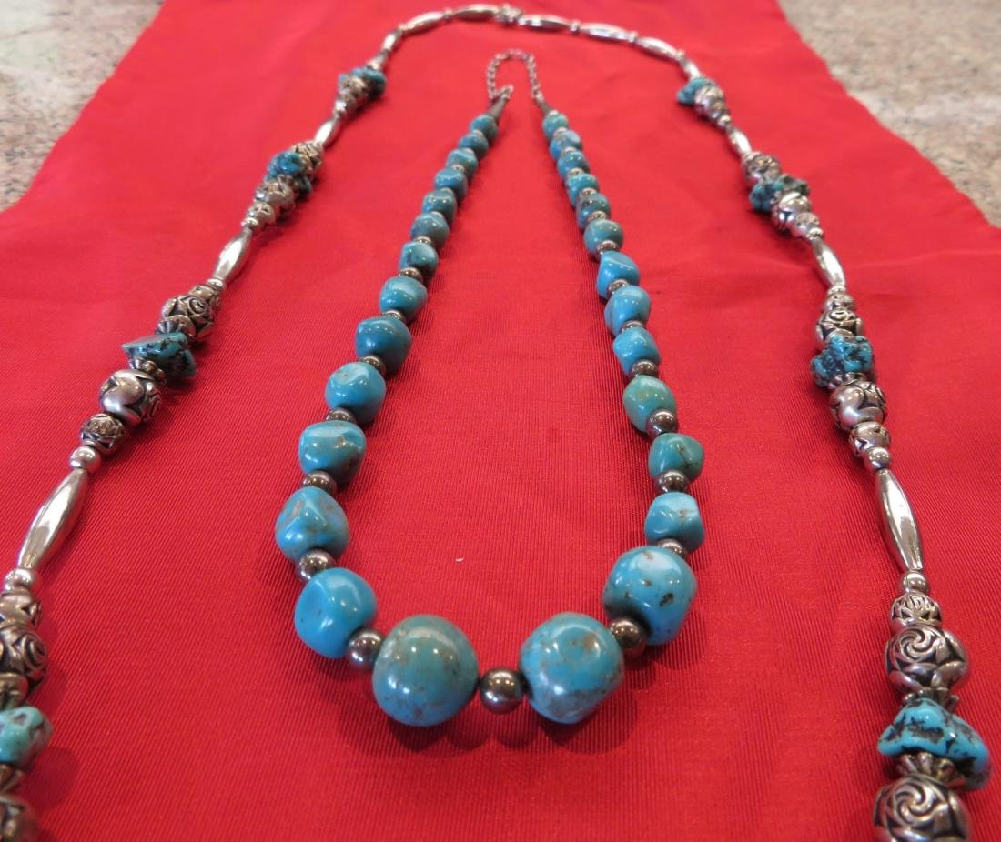 2 Navajo S.S. & Turquoise Necklaces - 2