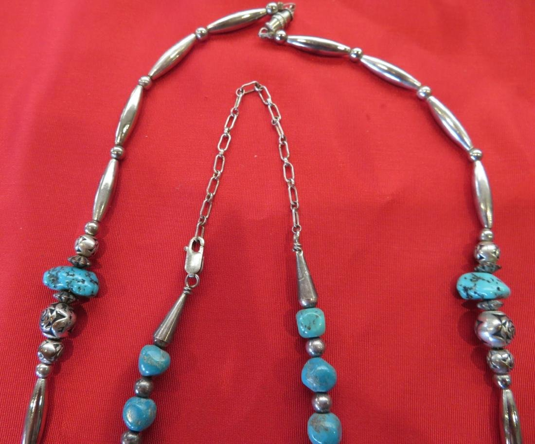 2 Navajo S.S. & Turquoise Necklaces - 4
