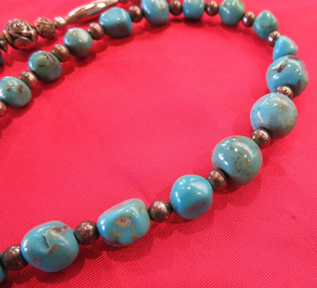 2 Navajo S.S. & Turquoise Necklaces - 5