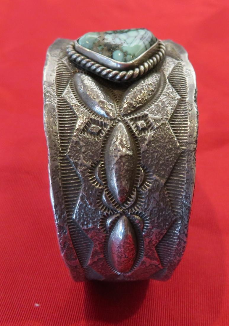 Navajo Tufa Cast Bracelet w/Turquoise - 3