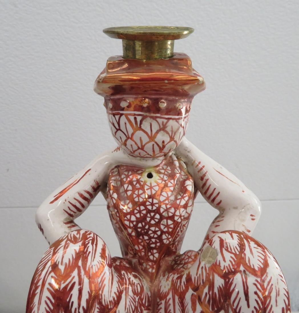 Antique Majolica Lusterware Candlestick - 10