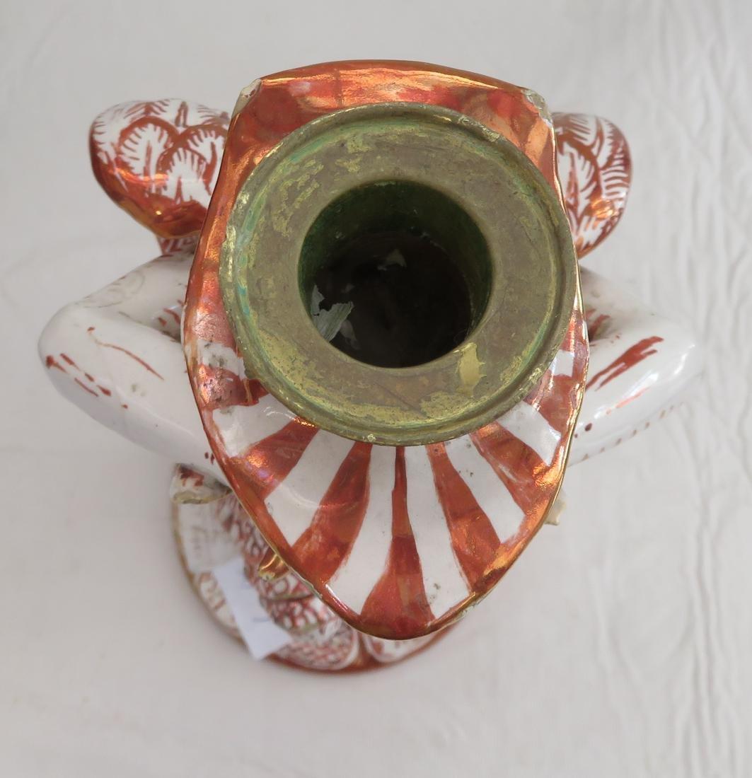 Antique Majolica Lusterware Candlestick - 2