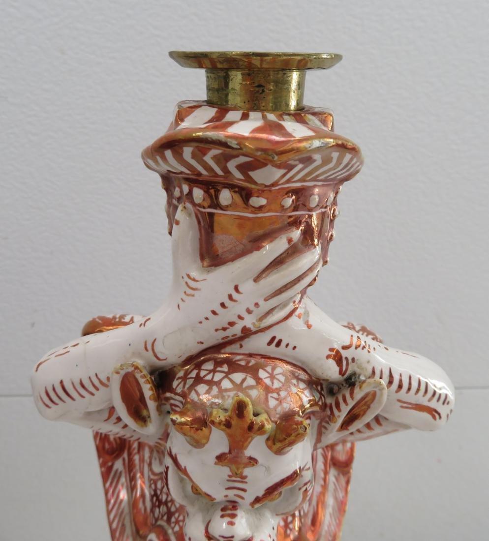 Antique Majolica Lusterware Candlestick - 3