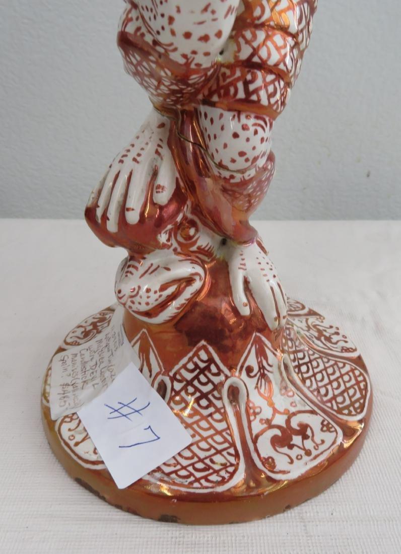 Antique Majolica Lusterware Candlestick - 6