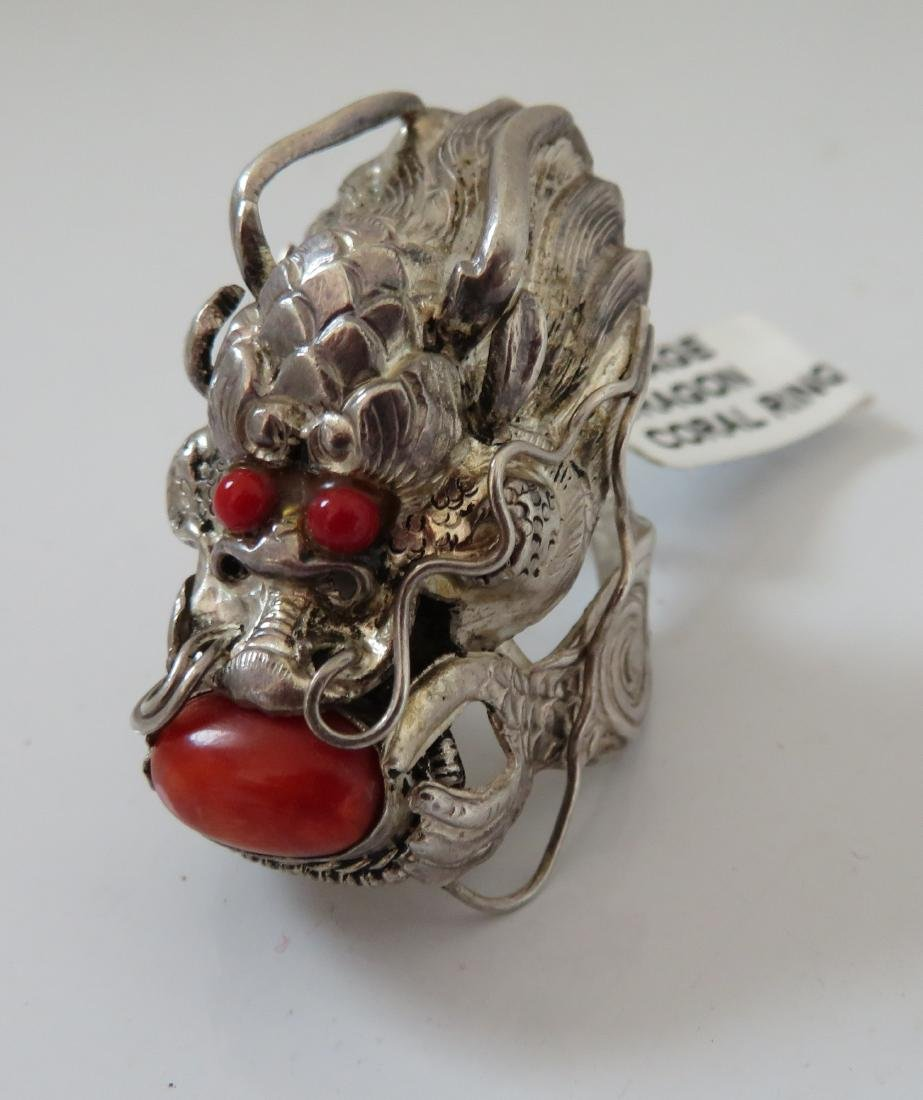 Sterling Silver & Coral Dragon Ring