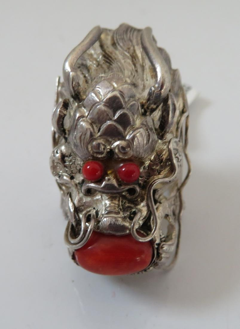 Sterling Silver & Coral Dragon Ring - 2