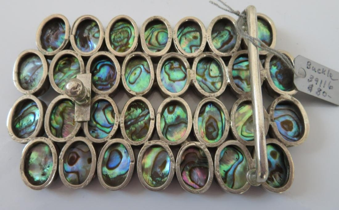 Mexican Abalone & Sterling Belt Buckle - 5