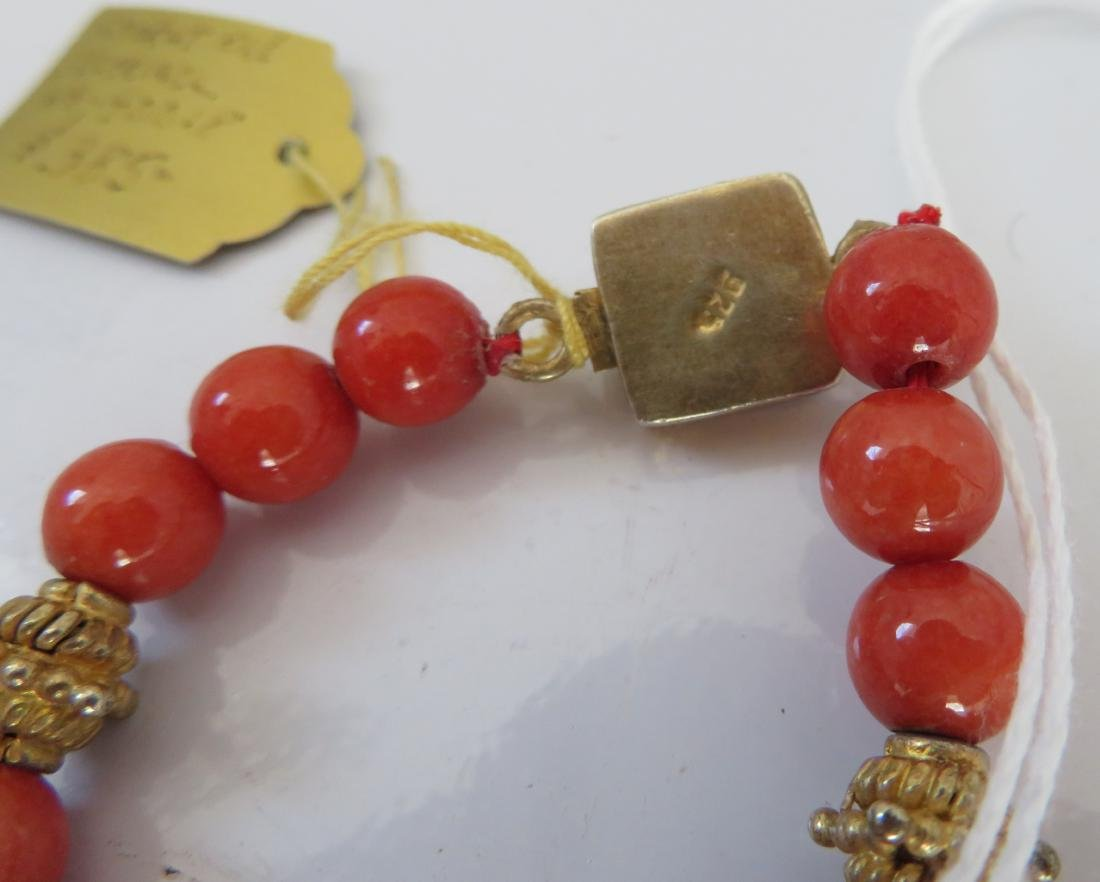 Tibet Handmade Reliquary Necklace w/Coral & Beads - 10