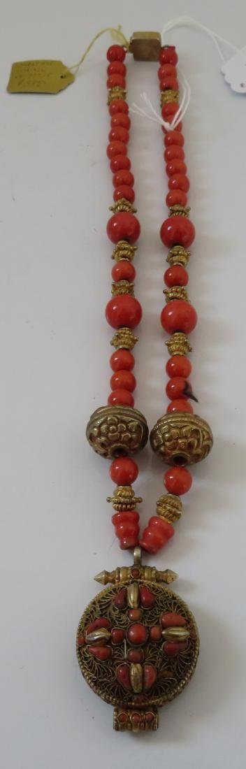 Tibet Handmade Reliquary Necklace w/Coral & Beads