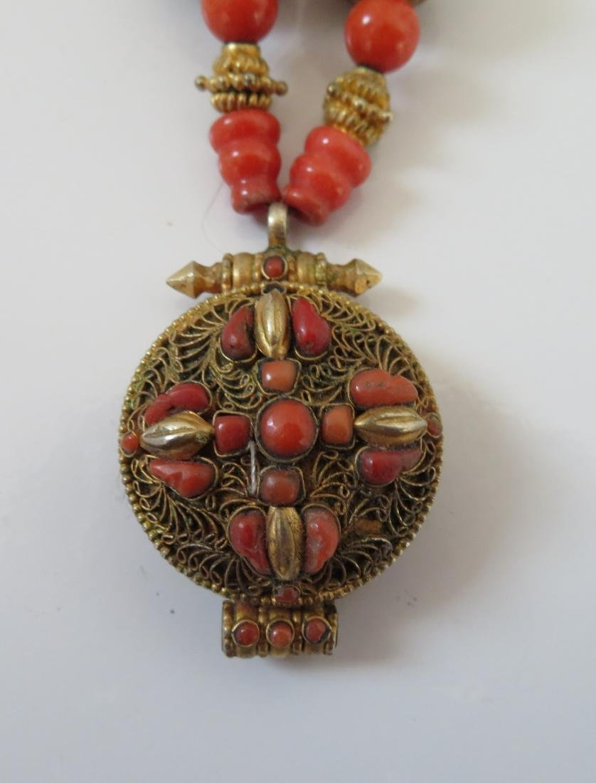Tibet Handmade Reliquary Necklace w/Coral & Beads - 2
