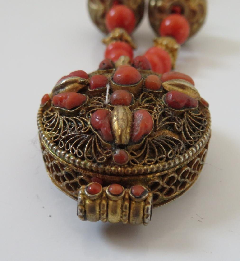 Tibet Handmade Reliquary Necklace w/Coral & Beads - 3