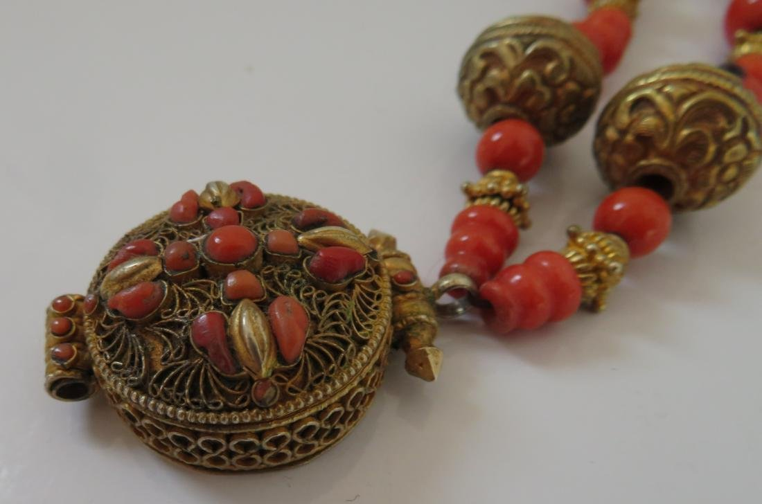 Tibet Handmade Reliquary Necklace w/Coral & Beads - 4