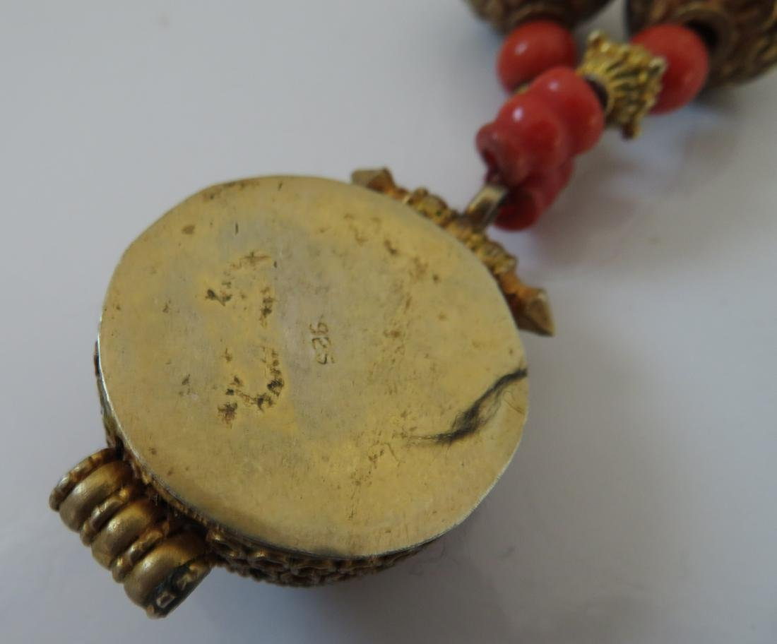 Tibet Handmade Reliquary Necklace w/Coral & Beads - 5
