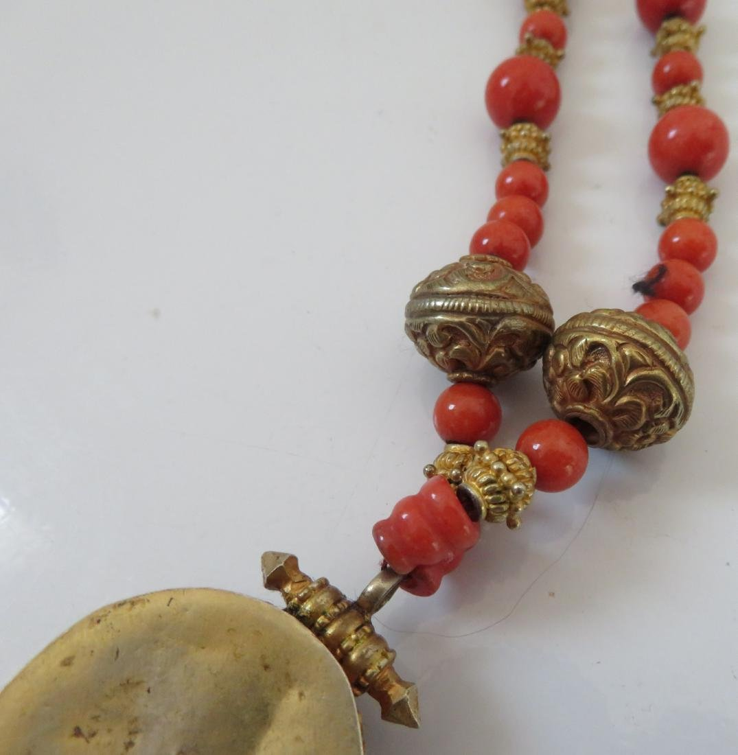 Tibet Handmade Reliquary Necklace w/Coral & Beads - 6