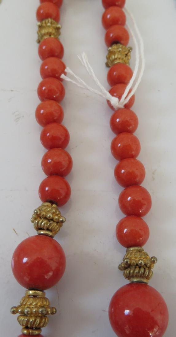 Tibet Handmade Reliquary Necklace w/Coral & Beads - 8