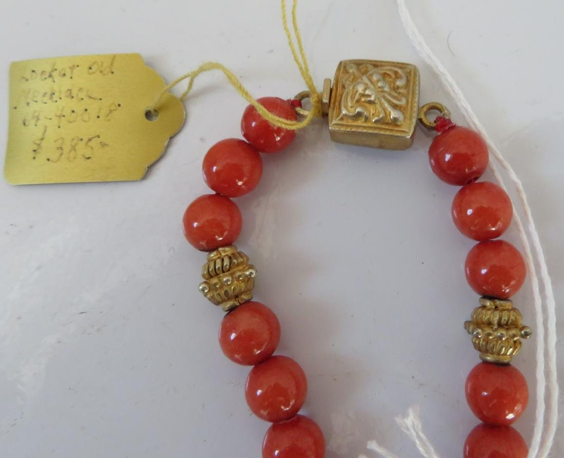 Tibet Handmade Reliquary Necklace w/Coral & Beads - 9