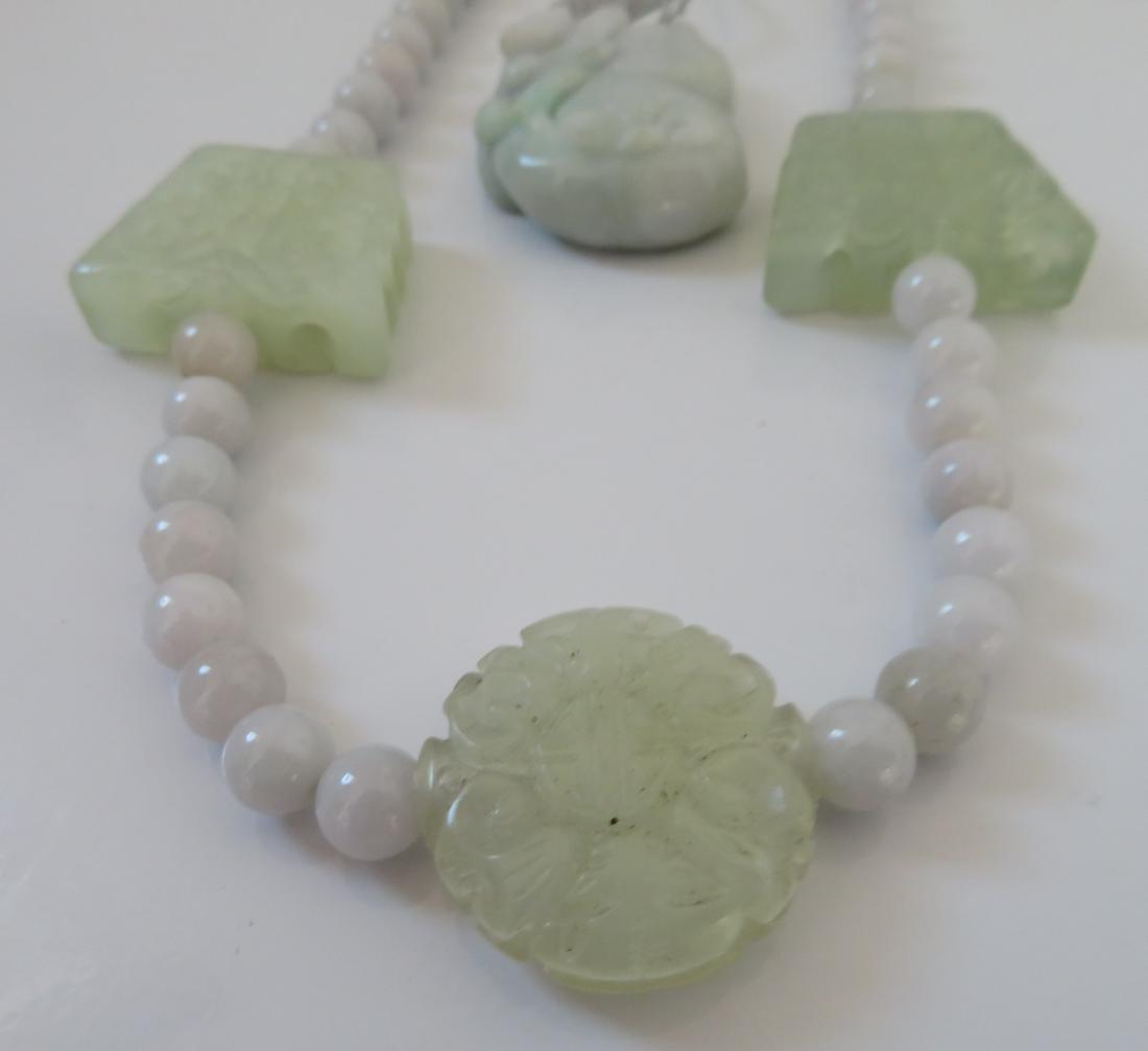 White Chinese Jade Necklace & Pendant - 2