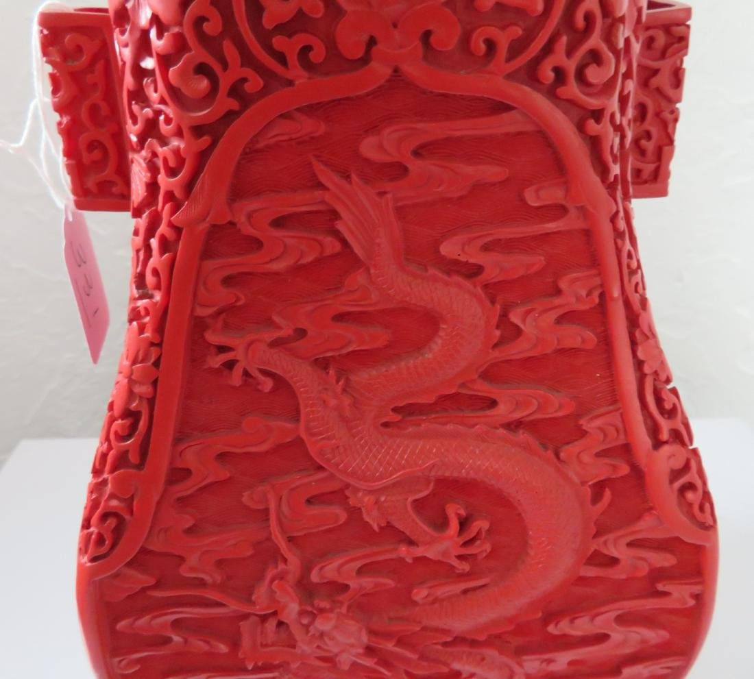 Chinese Red Cinnabar Vase - 5