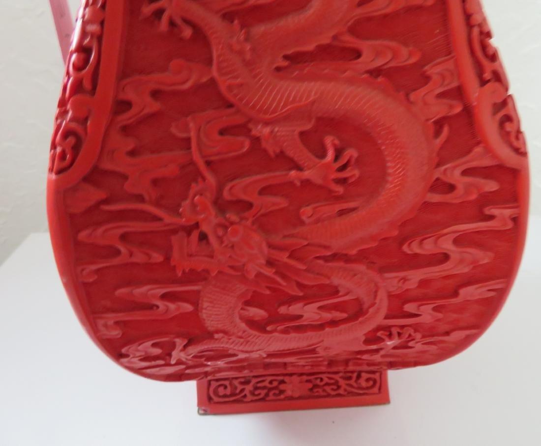 Chinese Red Cinnabar Vase - 6