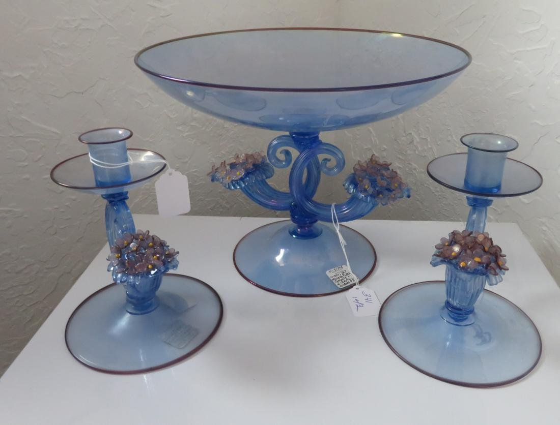 Irradiated Murano Pedestal Compote w/2 Candleholders
