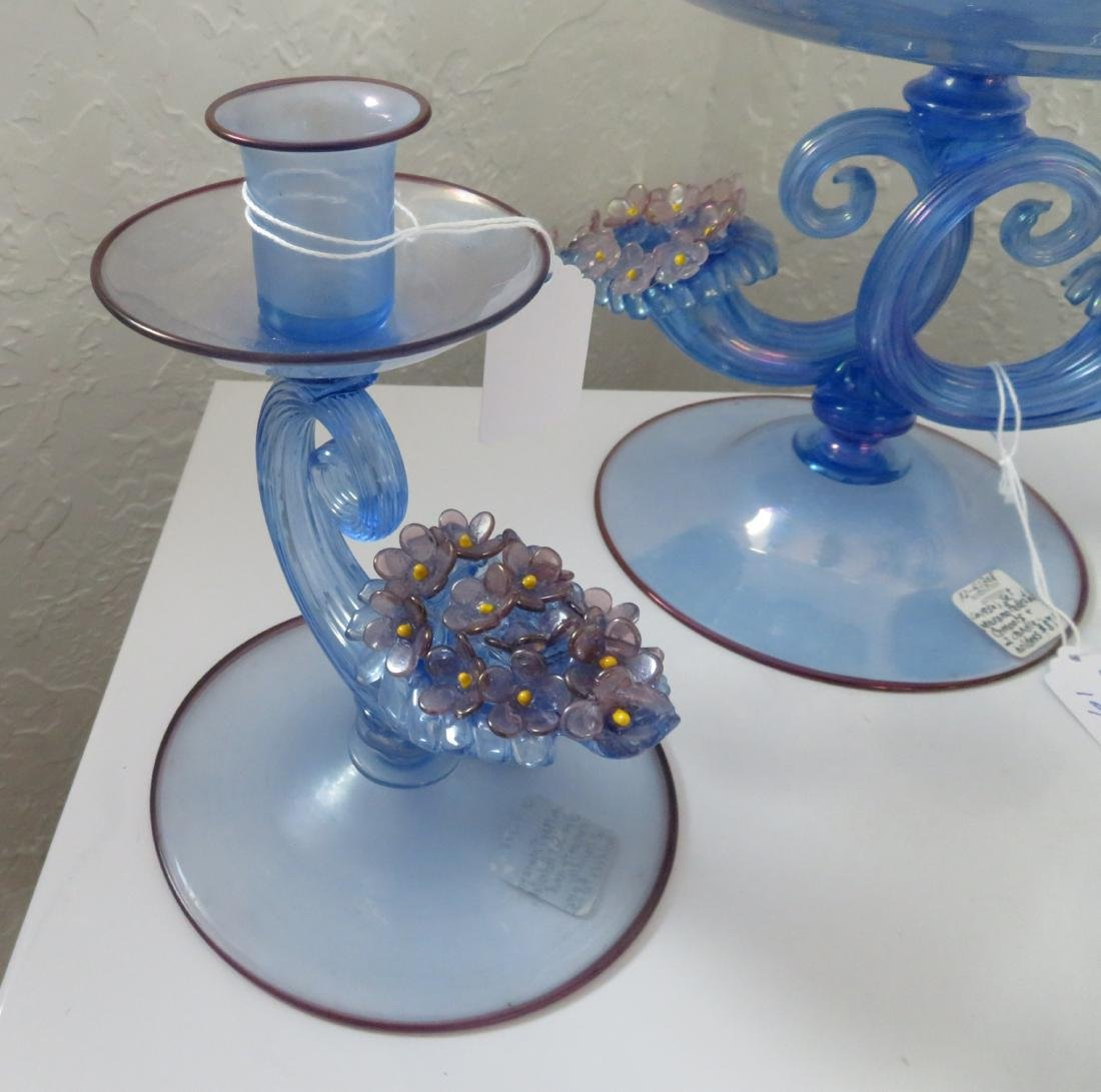 Irradiated Murano Pedestal Compote w/2 Candleholders - 2