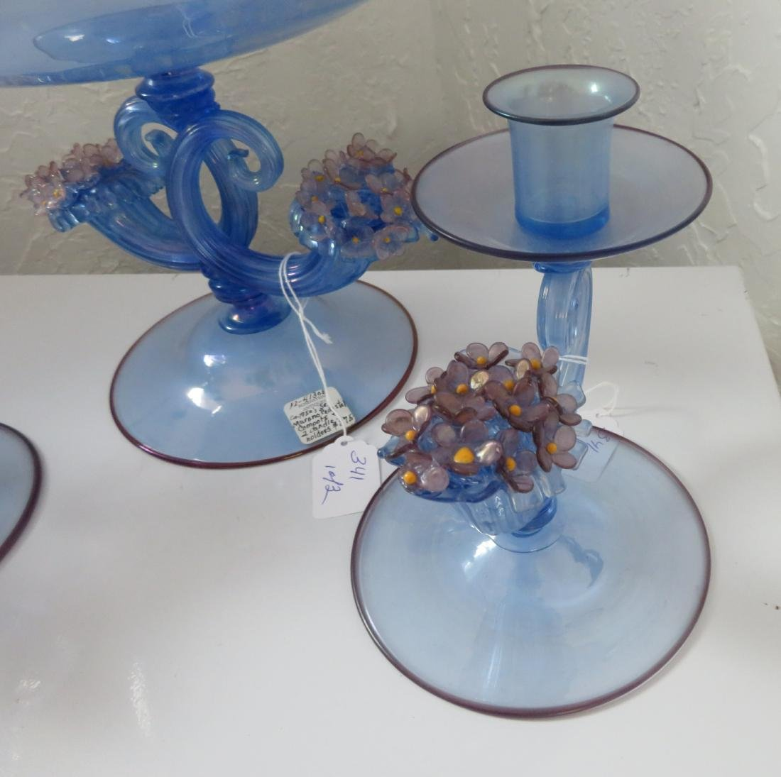 Irradiated Murano Pedestal Compote w/2 Candleholders - 3