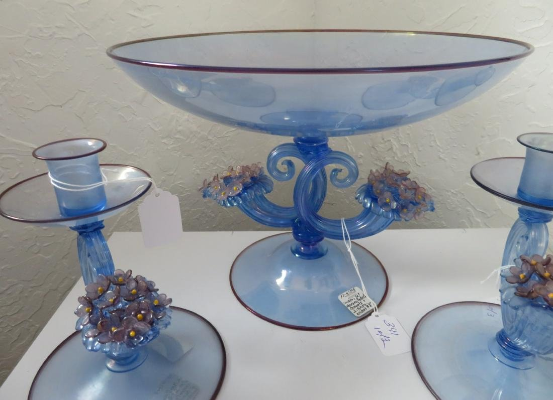 Irradiated Murano Pedestal Compote w/2 Candleholders - 4